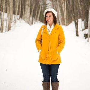 Jackets & Blazers - Mustard Colored Buttoned Long Sleeve Coat